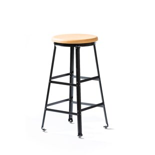High Angle Steel Wood Seat 30 Bar Stool by MontisaWork