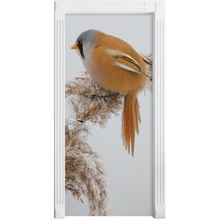 Little Bird On Wheat During Winter Door Sticker By East Urban Home