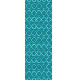 Fish Quad European Design Teal/White Indoor/Outdoor Area Rug