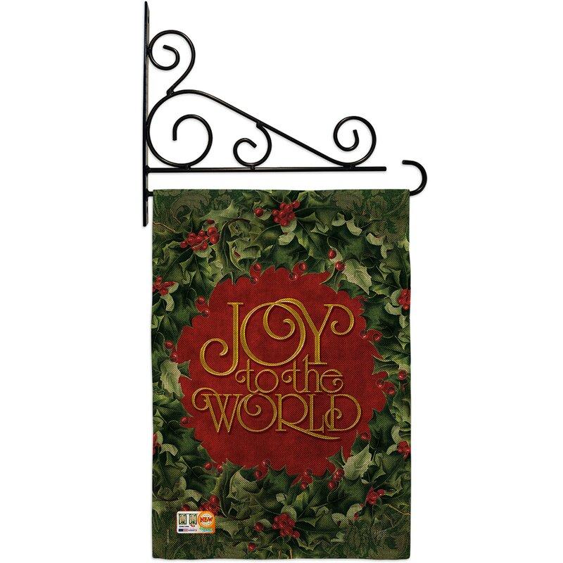 Breeze Decor Joy To The World Wreath Winter Wonderland 2 Sided Polyester 19 X 13 In Garden Flag Wayfair