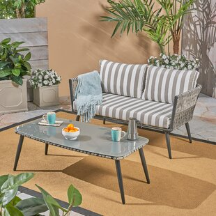 Maguire 2 Piece Rattan Sofa Seating Group with Cushions