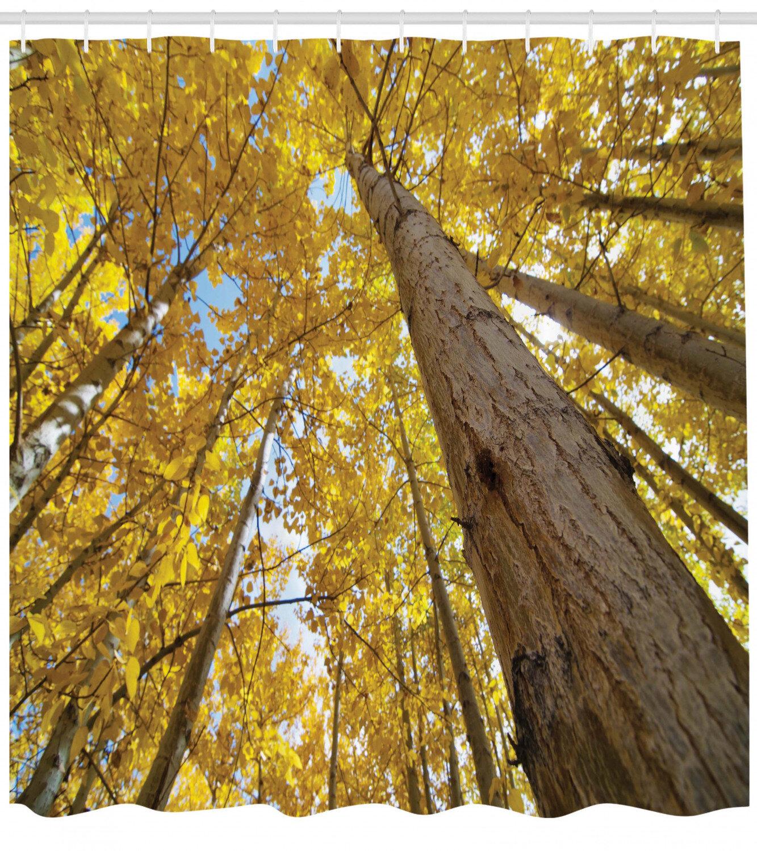 East Urban Home Forest Aspen Tree Leaves In Fade Tone Autumn Season Photo Image Shower Curtain Set Wayfair