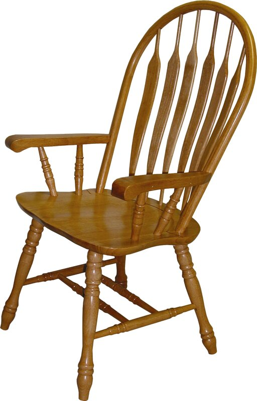August Grove Malaysian Oak Windsor Back Solid Wood Dining Chair