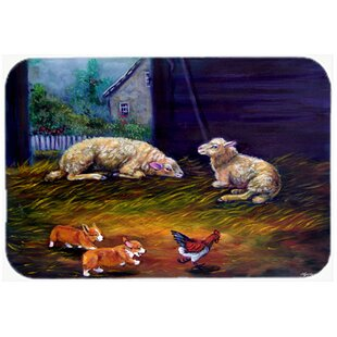 Corgi Chaos In The Barn With Sheep Kitchen/Bath Mat by Caroline's Treasures
