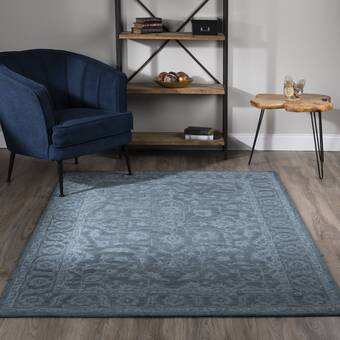 Exquisite Rugs Pavillion Hand Woven Wool Navy Area Rug Wayfair