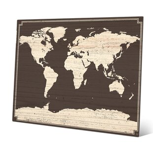 Metal world map wall art youll love wayfair world map on dark wood graphic art gumiabroncs Images