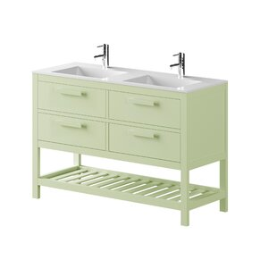 Amazonia Solid Pine 1200mm Free-standing Double Basin Vanity Unit By Bathforte, S.L