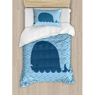 Whale Water On Top With Art Deco Wavy Like Patterned Background For Kids  Room Duvet Set