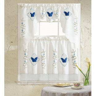Delicieux Butterfly Blue 3 Piece Kitchen Curtain Set