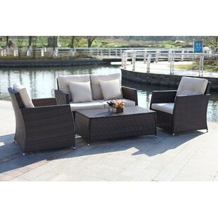 Gilson 4 Piece Rattan Sofa Set with Cushions