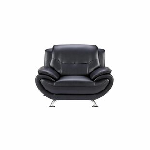 Urlingford Faux Leather Upholstered Wooden Armchair by Orren Ellis