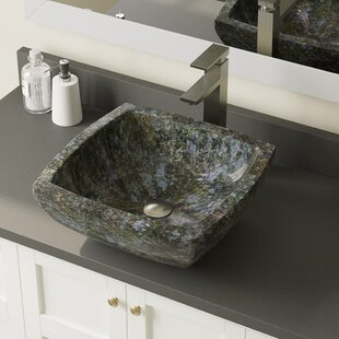 Butterfly Stone Square Vessel Bathroom Sink with Faucet by MR Direct