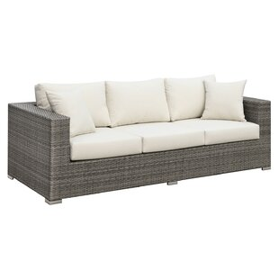 Hillman Faux Rattan Patio Sofa With Cushions by Rosecliff Heights 2019 Sale