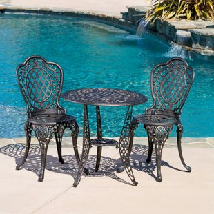Fleur De Lis Living Tensed 3 Piece Bronze Cast Aluminum Outdoor Bistro Set