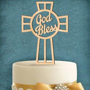 God Bless Wooden Cake Topper