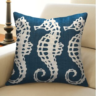 Sea Horse Linen Throw Pillow