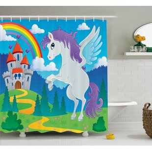 Luther Unicorn with Rainbow Fairy Single Shower Curtain