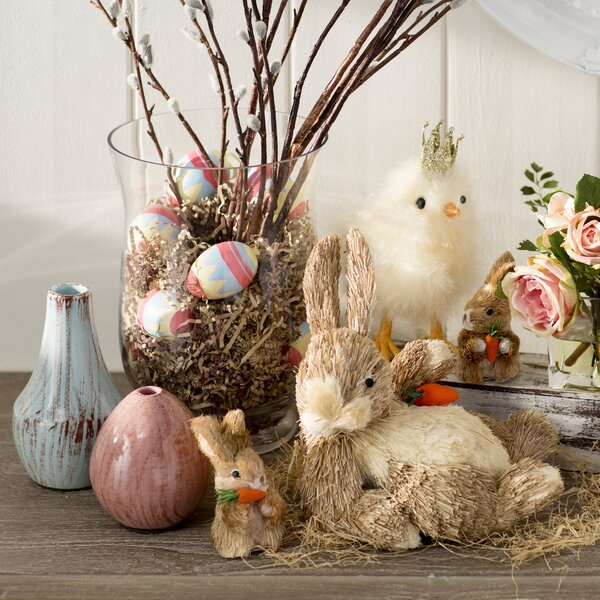 12/' Sisal Bunny Twig Basket Door Wall Table mantel Country Cottage  Rustic Decor