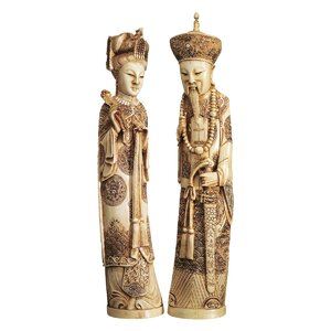2 Piece Mandarin Ivory Oliphants Emperor and Empress Figurine