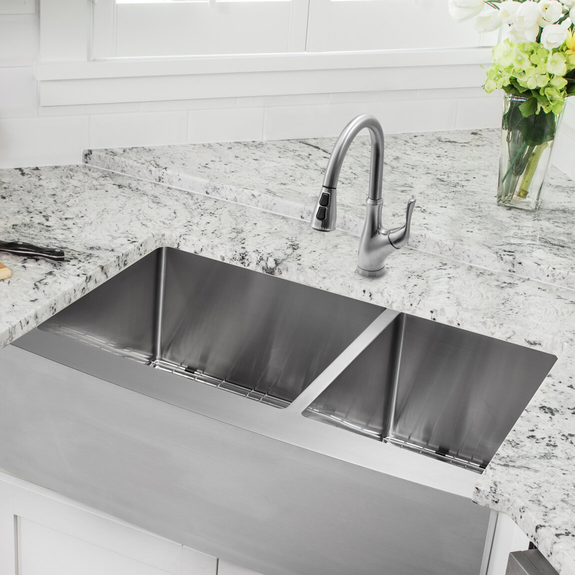 Soleil 36 L X 20 75 W Apron Front 60 40 Double Bowl Stainless