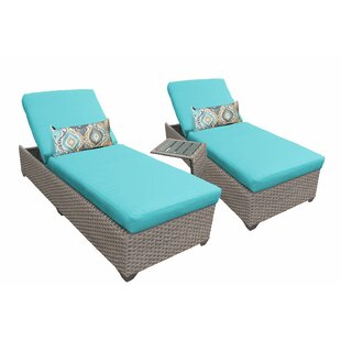 TK Classics 3 Piece Chaise Lounge Set with Cushion