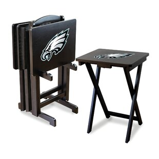 NFL Team 4 Piece Tray Table Set with Stand ByImperial International