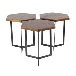 Wales Contemporary 3 Piece Hexagonal Bunching Coffee Table Set