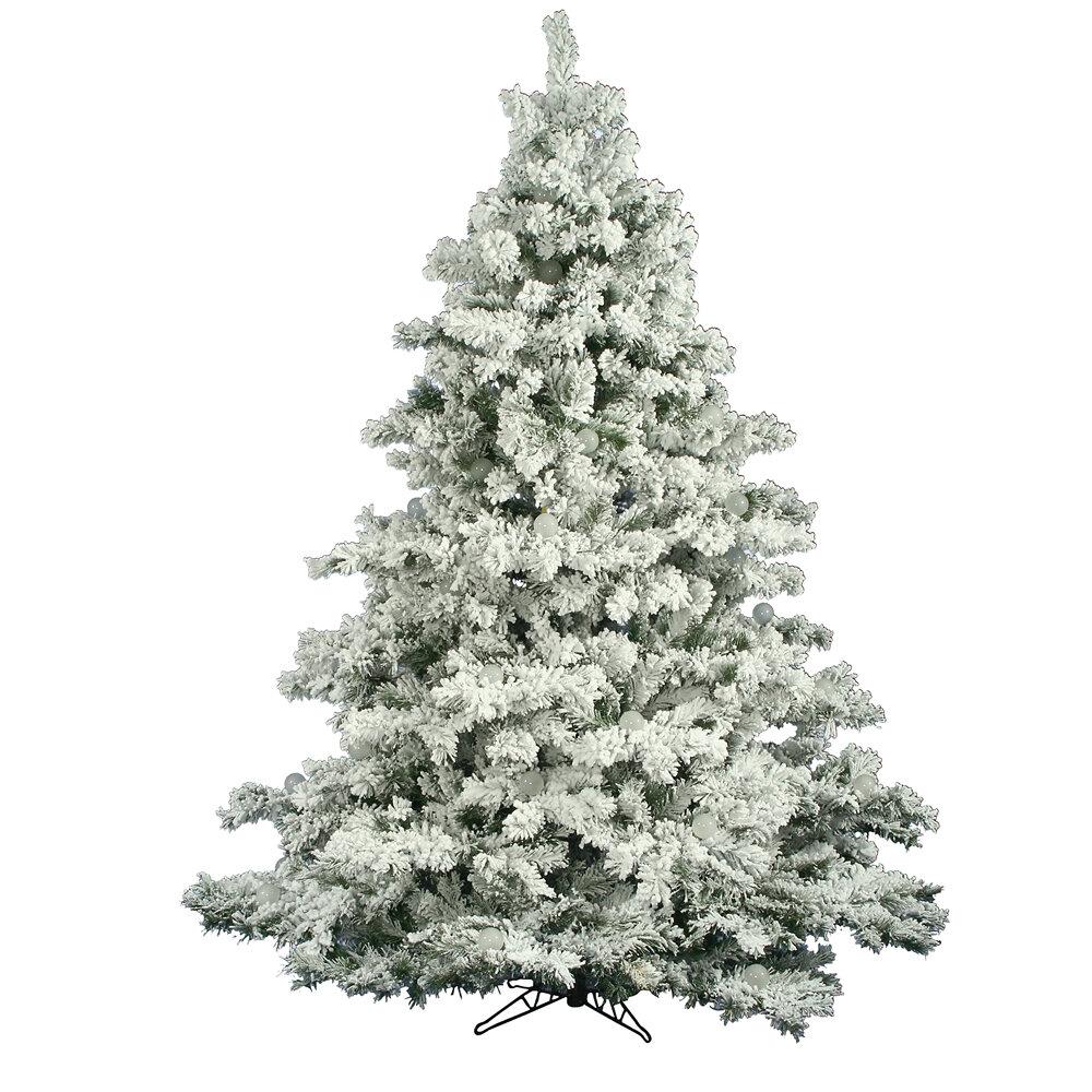 The Holiday Aisle Flocked Alaskan 7.5\' White Artificial Christmas ...