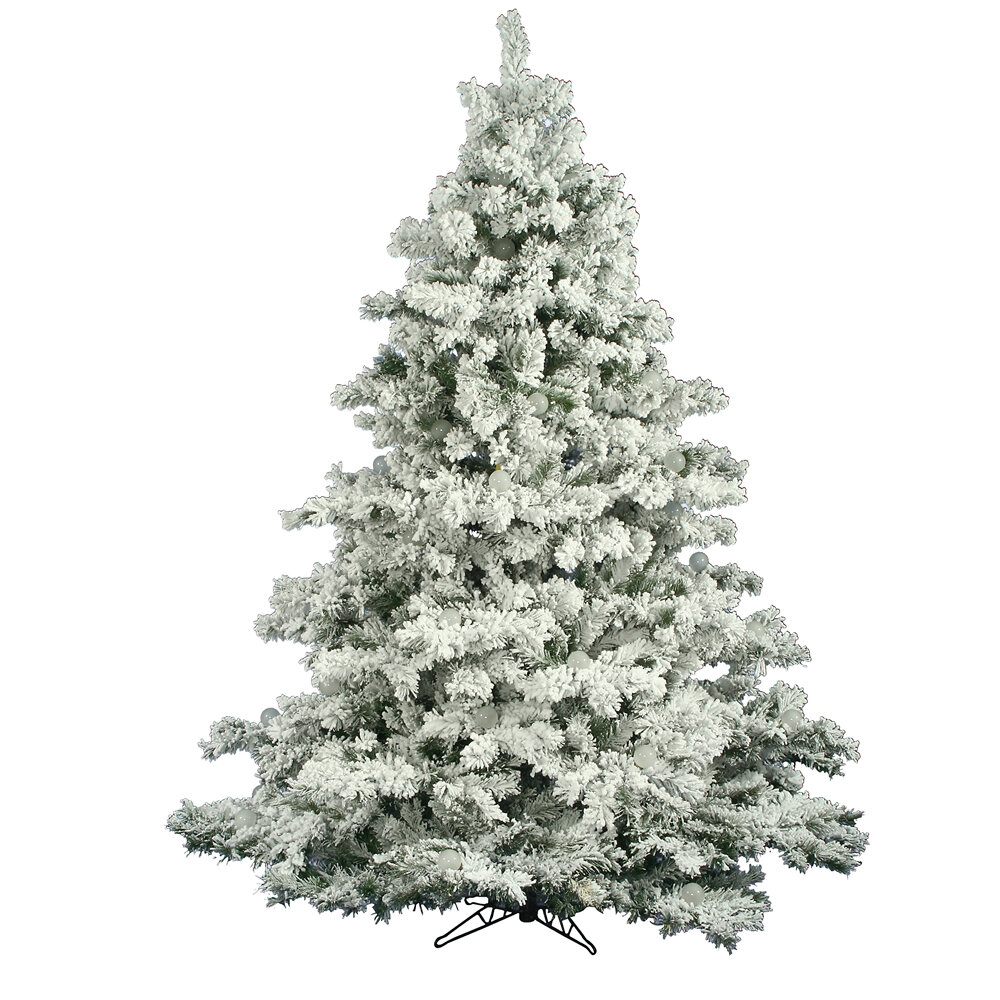 The Holiday Aisle Flocked Alaskan White Green Pine Artificial Christmas Tree Reviews Wayfair