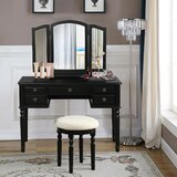 Herkimer Vanity Set with Stool and Mirror by Canora Grey