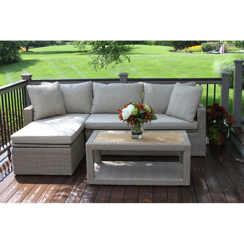 Attirant Dillon 3 Piece Teak Sectional Set With Cushions