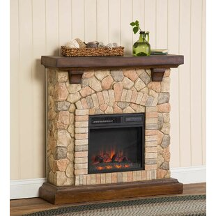 Plow & Hearth Stacked Stone Infrared Quartz Electric Fireplace