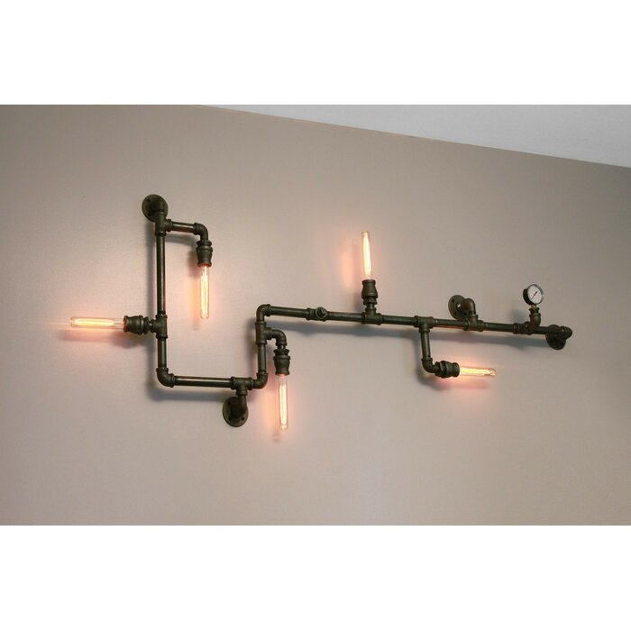 online store 4d235 86f13 Rachael 5-Light Industrial Pipe Wall Light