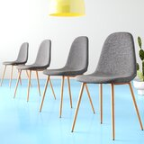 Macleod Strong Metal Legs Upholstered Stacking Side Chair in Gray (Set of 4) by Hashtag Home