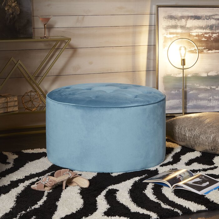 Miraculous Jeb Large Round Tufted Cocktail Ottoman Andrewgaddart Wooden Chair Designs For Living Room Andrewgaddartcom