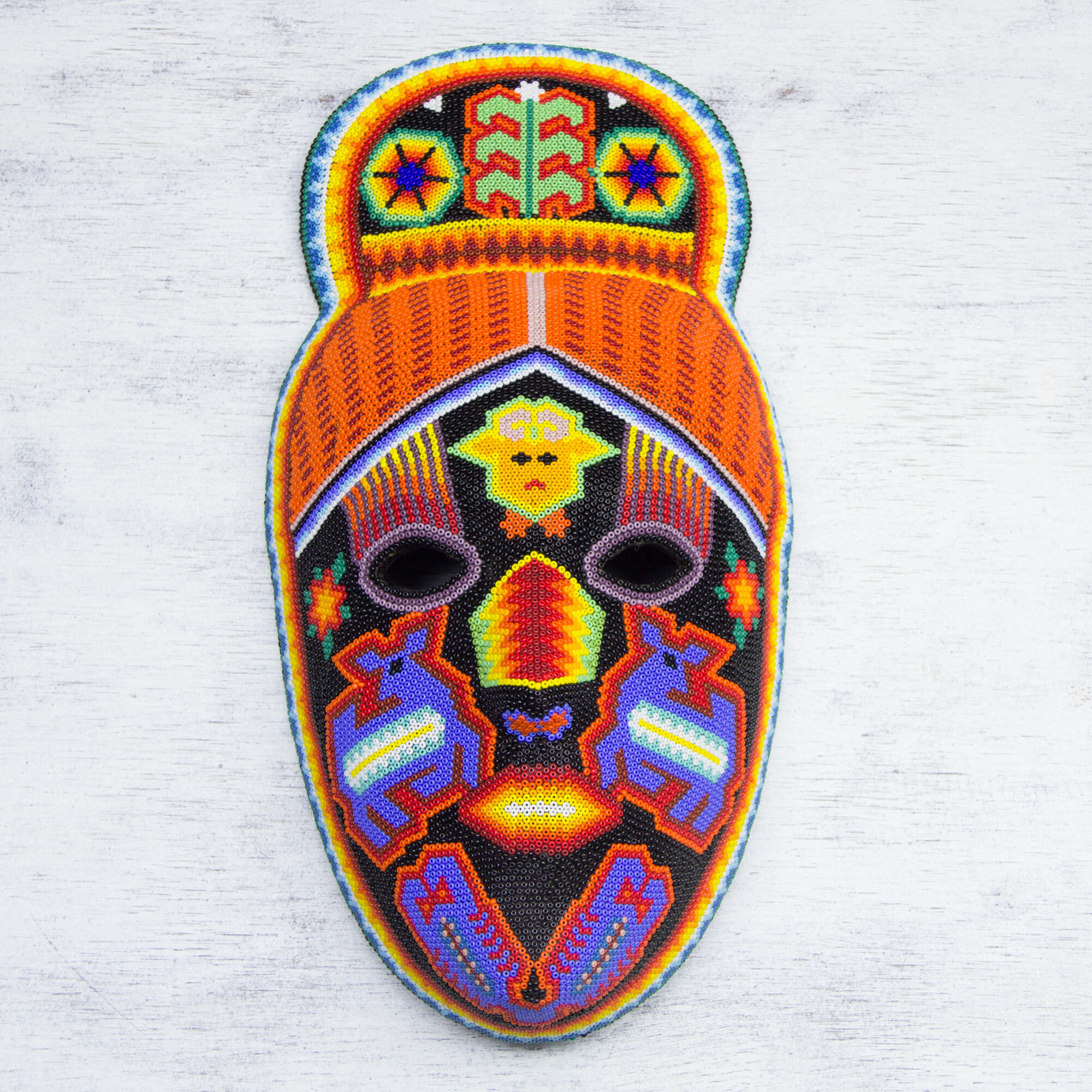 Bloomsbury Market Higinio Hernandez Hand Crafted Huichol Multicolor Beaded Mask Wall Decor Wayfair