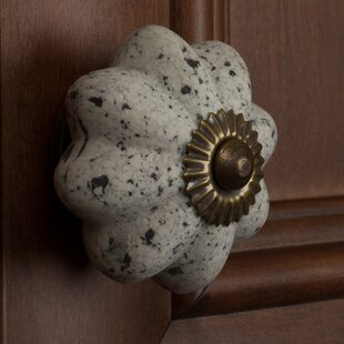 Handpainted Cabinet Stone Look Ceramic Melon Novelty Knob