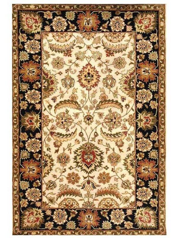 Acura Rugs Artios Oriental Handmade Tufted Wool Ivory Black Area Rug Wayfair