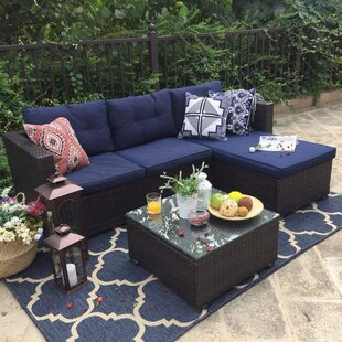 Steward Outdoor 3 Piece Rattan Sectional Seating Group With Cushions Reviews Patioseat Uno