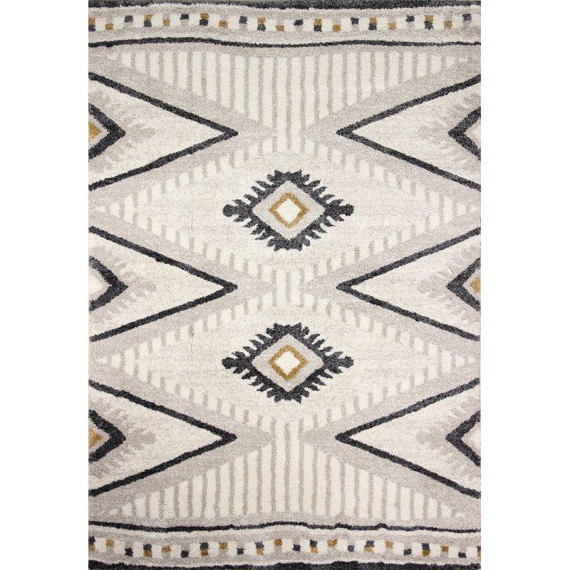 Bungalow Rose Yonkers Geometric Cream Black Area Rug Reviews