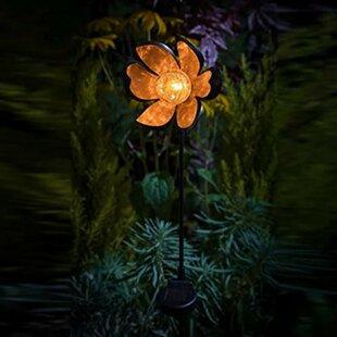 Halliburton Flower LED Ice Crackle Solar Powered Garden Torch By Sol 72 Outdoor