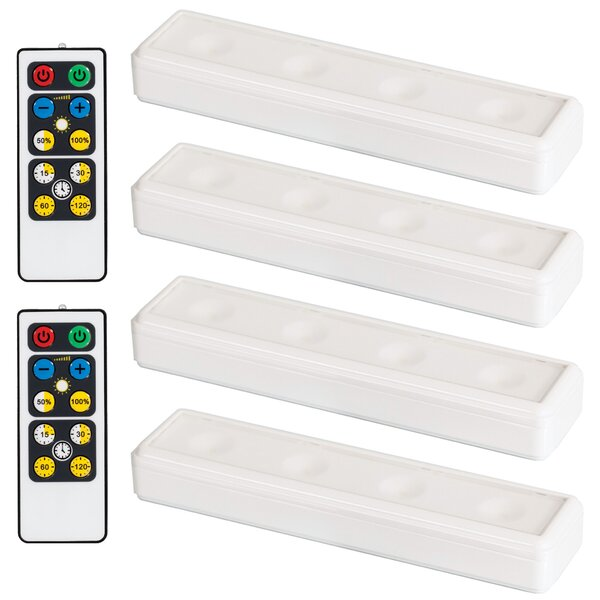 multi colour with remote. Led glass shelf lighting set of 4