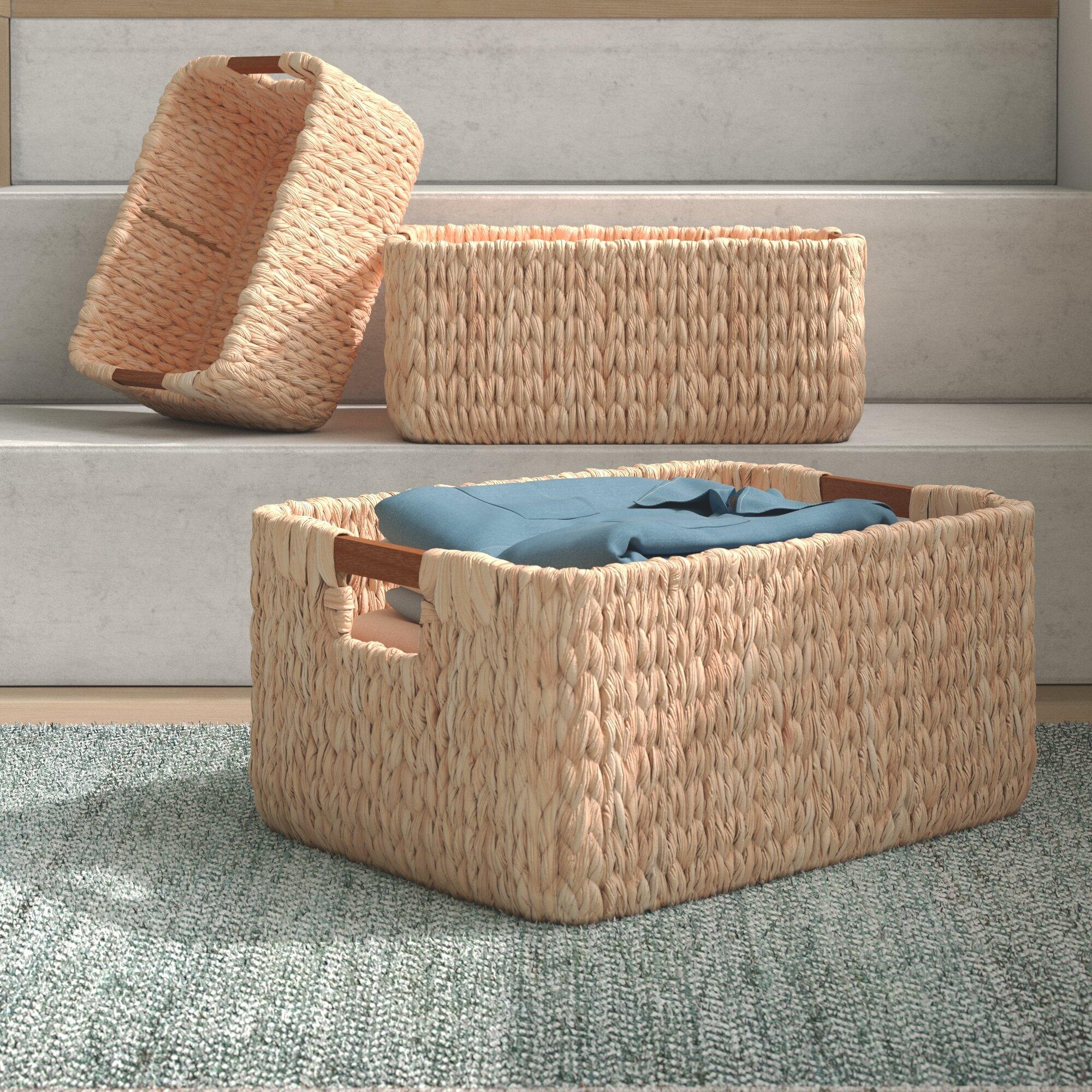 Dotted Line Janet 3 Piece Wicker Rattan Basket Set Reviews Wayfair