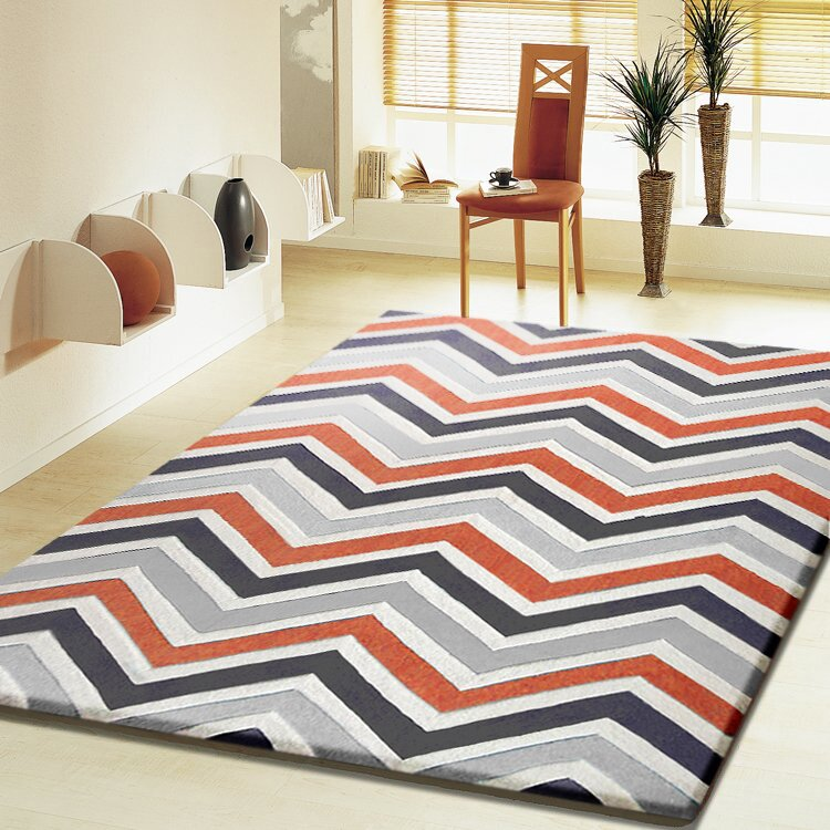 Hayman Transitional Hand-Tufted Gray/Orange Area Rug