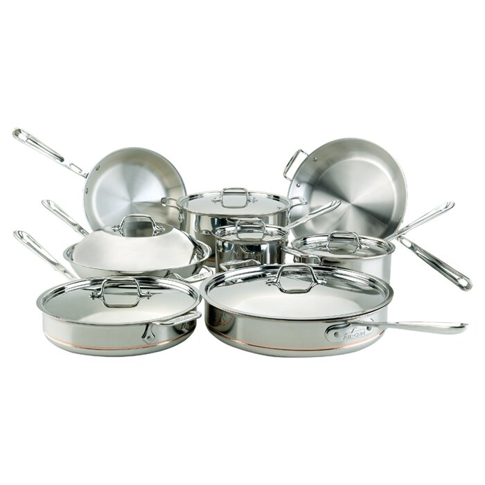 All-Clad 14 Piece Stainless Steel Non Stick Cookware Set