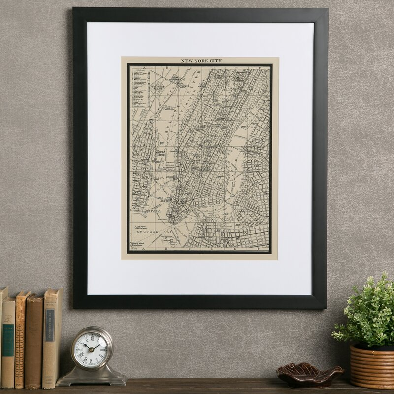 'Vintage New York City Map' Framed Print on Glass