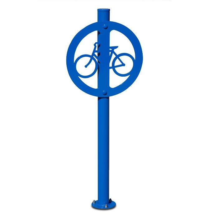 Traditional 2 Bike Medallion Post Anchored Bike Rack