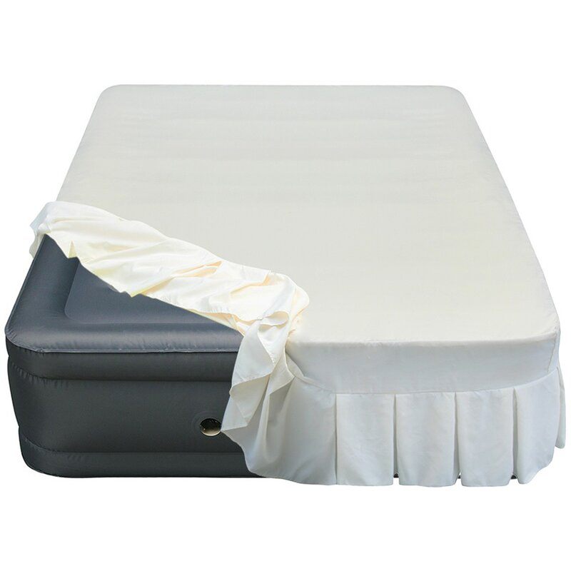 "Lustrous 20"" Queen Air Mattress with Perfectly Fitted Skirted Sheet Cover"