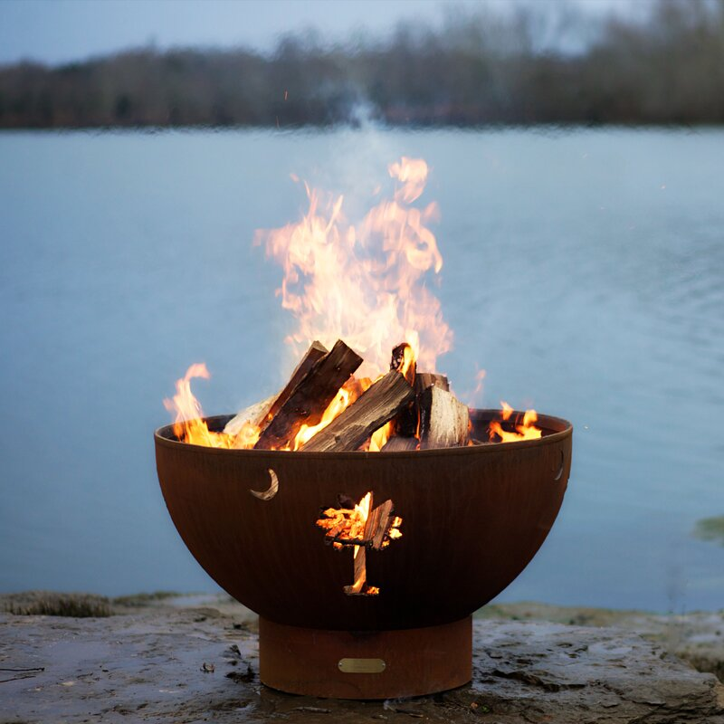 Tropical Moon Steel Wood/Gas Fire Pit