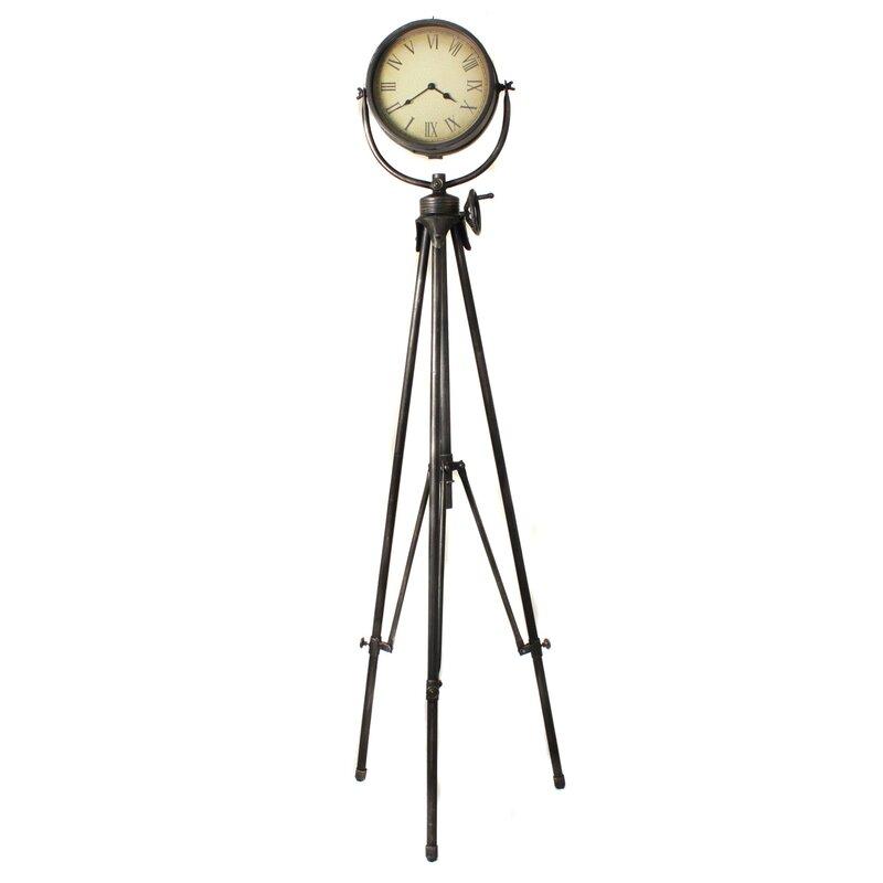 Urban Weathered Industrial Studio Tripod Floor Clock